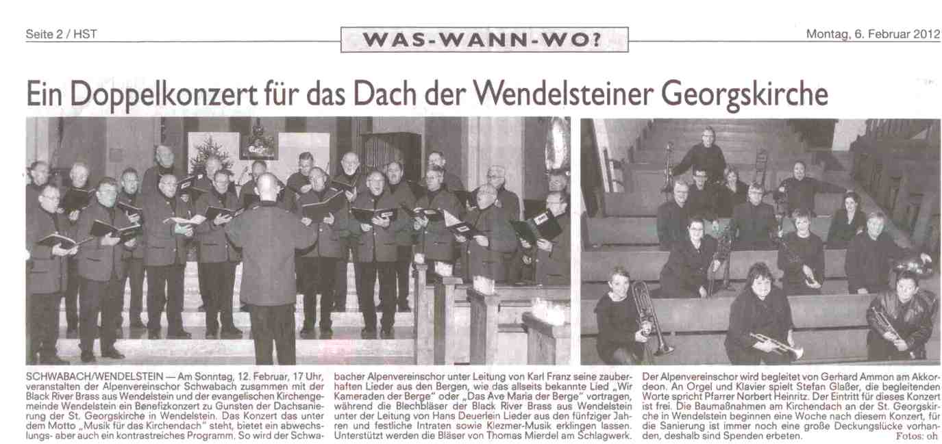 Ankündigung Alpenverein BRB Konzert Kirchendach 06.02.2012