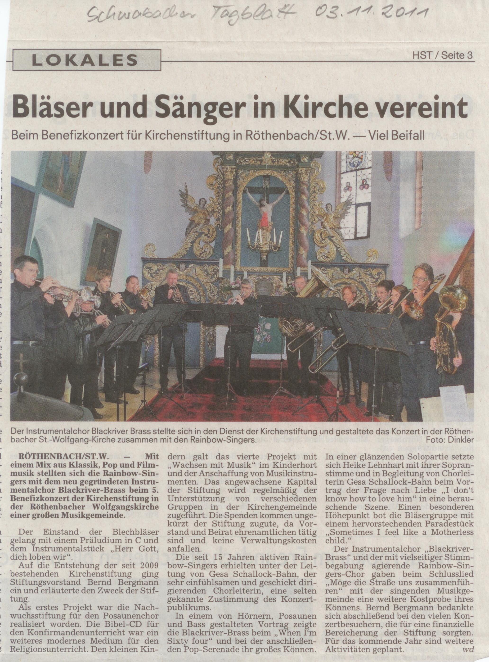 BRB Bericht Benefizkonzert Röthenbach Schwabacher Tagblatt 10 2011