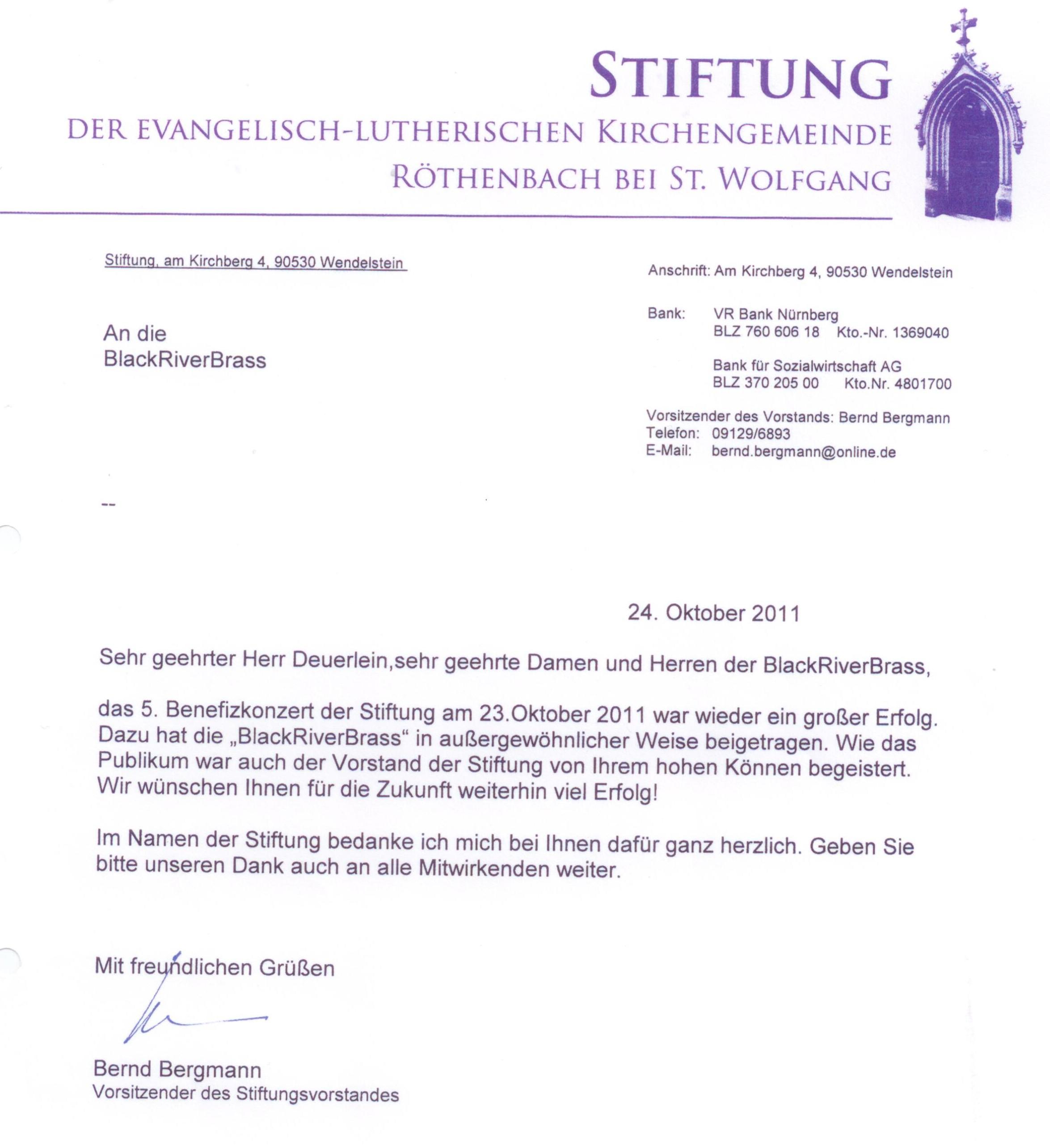 BRB Dankesschreiben Kirchenstiftung Benefizkonzert 10 2011