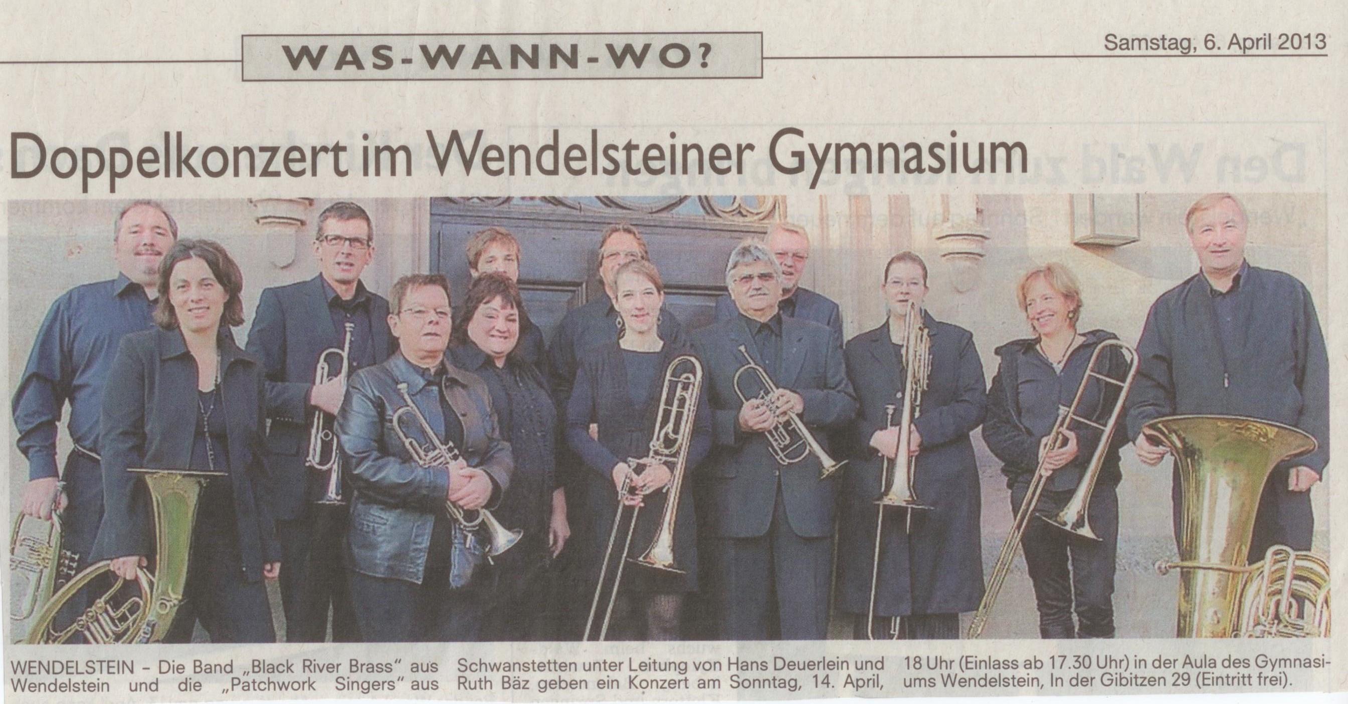 BRB Konzert Gym Ankündigung Zeitung 14.04.2013