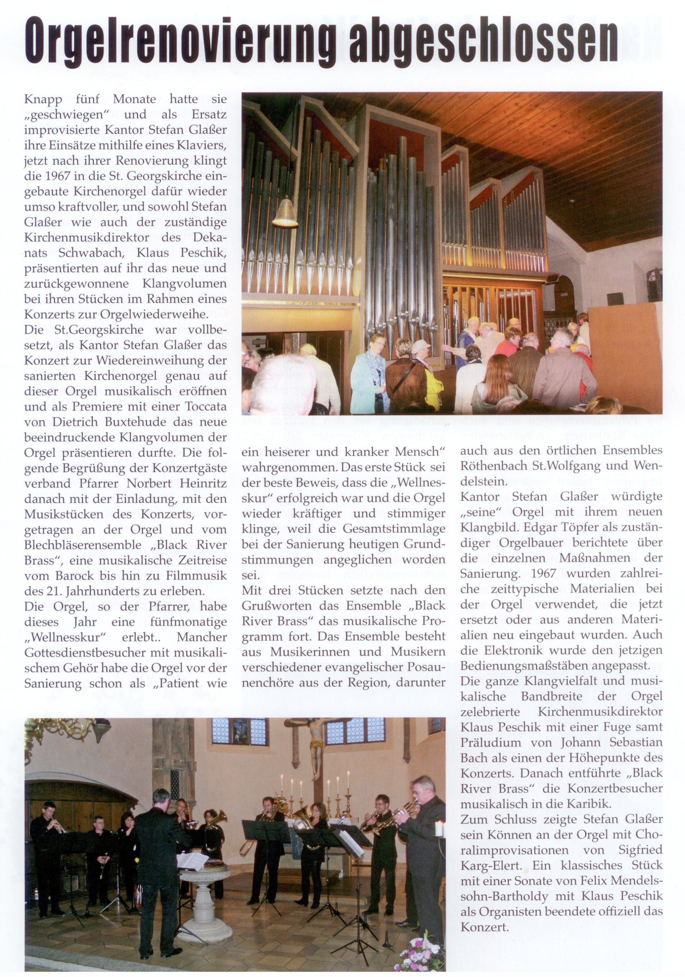 BRB Konzert Orgelsanierung Bericht Aktuell St. Georg 11 2014