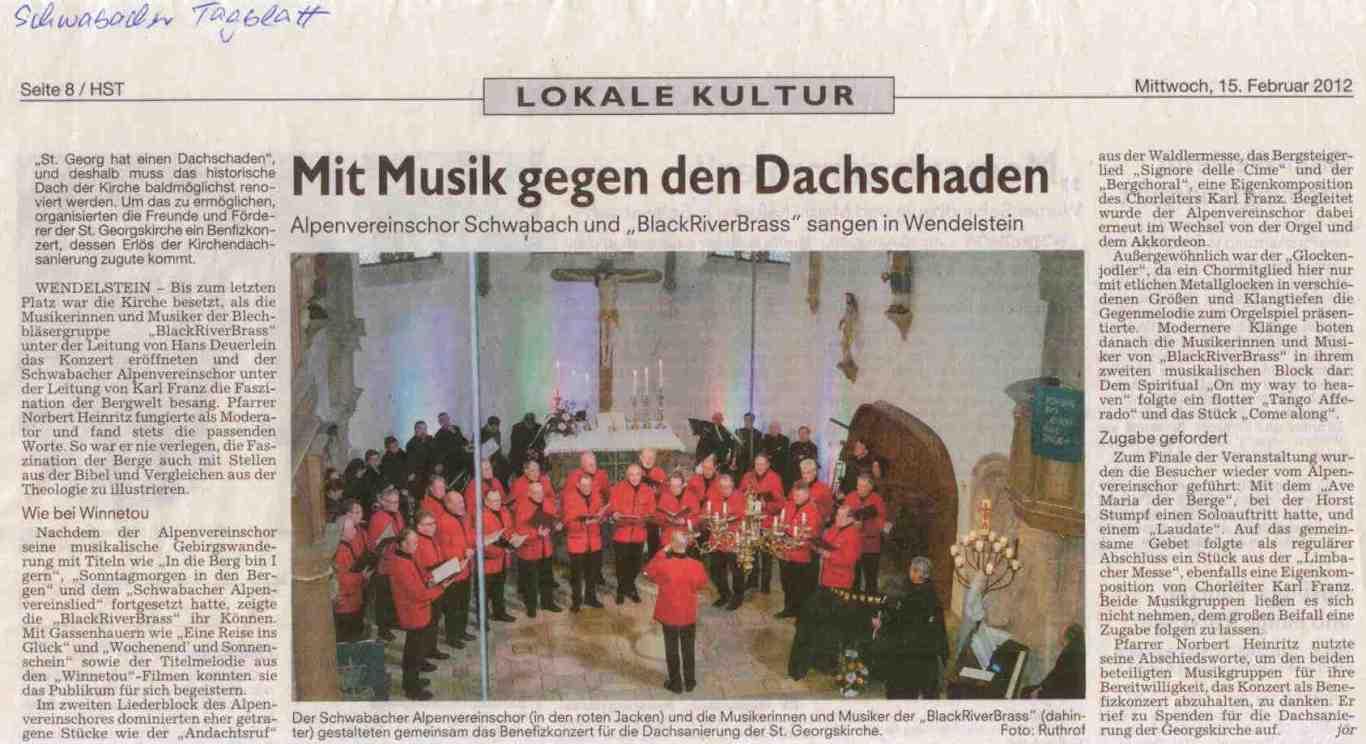 Bericht Alpenverein BRB Konzert Kirchendach WST 15.02.2012