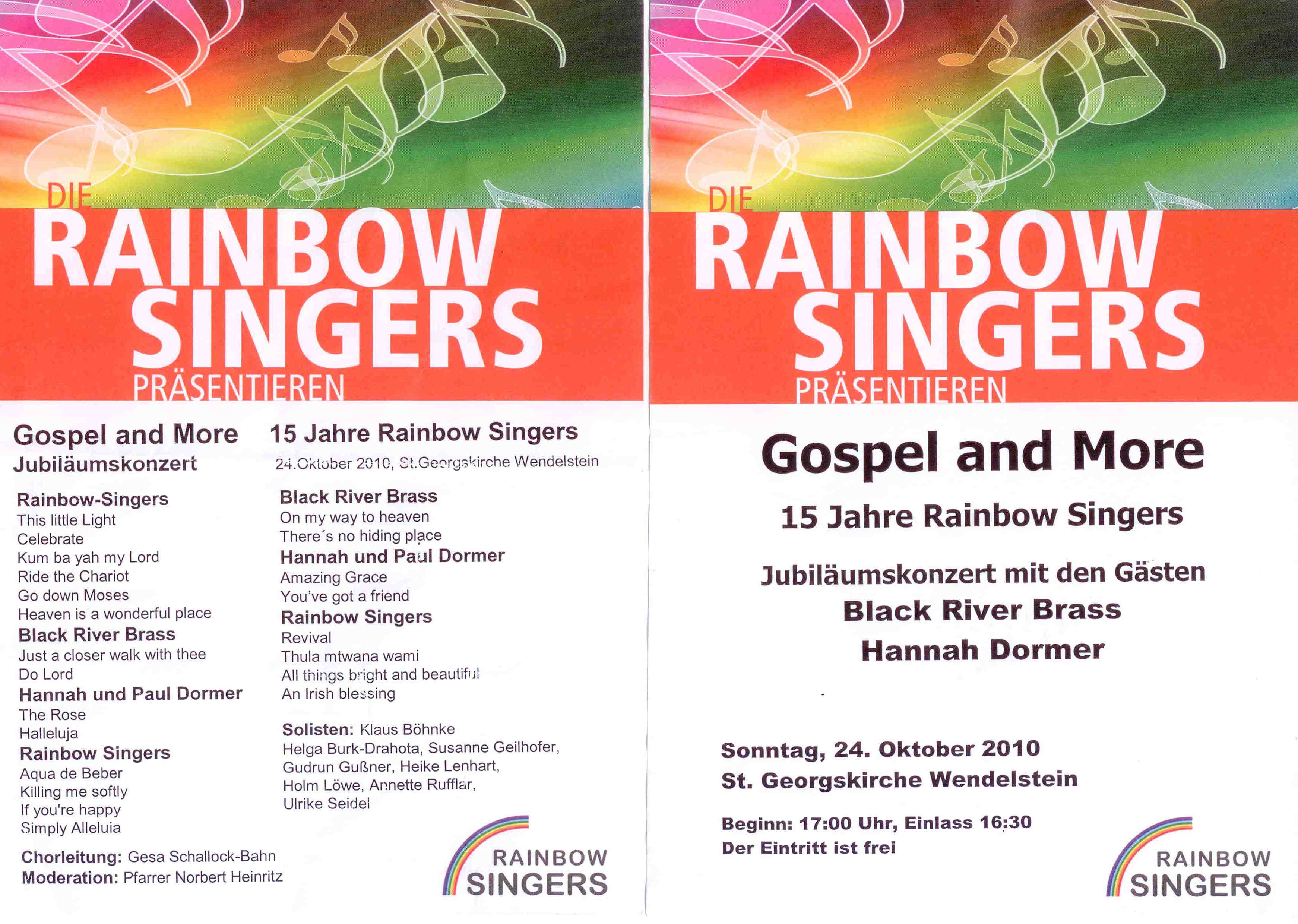 Konzert Rainbow Singers Programm 24.10.2010